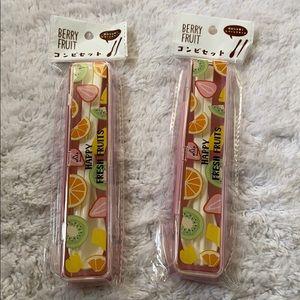 New Jap BerryFruit spoon chopstick cutlery set box
